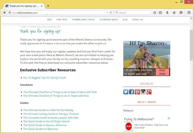 Subscriber Resources on Where's Sharon