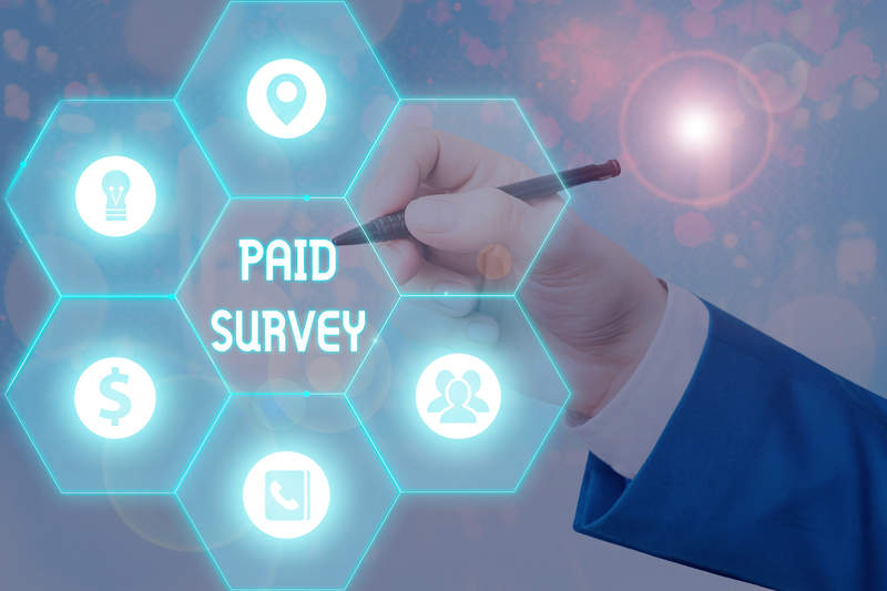 Writing Note Showing Paid Survey. Business Photo Showcasing Stat